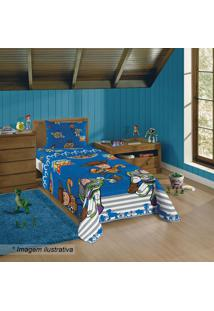 Jogo De Cama Toy Storyâ® Solteiro- Azul Escuro & Laranja