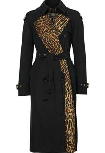 Burberry Leopard-Print Lined Trench Coat - Preto