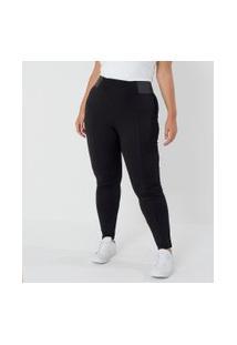 Calça Legging Com Elástico Na Lateral Curve & Plus Size | Ashua Curve E Plus Size | Preto | Gg