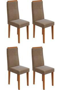 Conjunto Com 4 Cadeiras Dafne Rovere E Marrom