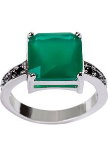 Anel Quadrado The Ring Boutique Pedra Cristal Verde Esmeralda Ródio Ouro Branco