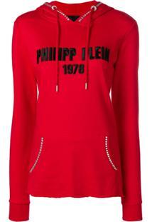 Philipp Plein Blusa De Moletom Com Logo Bordado - Vermelho