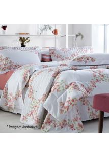 Edredom Primavera Floral Queen Size- Branco & Coral-Sultan