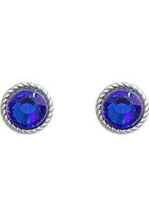 Brinco Prata Mil Envelhecida Redondo Com Pedra Chaton Azul Prata