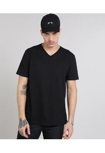 Camiseta Masculina Básica Gola V Manga Curta Preta