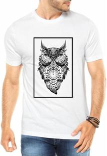 Camiseta Criativa Urbana Coruja Style Tattoo Quadro Tempo - Masculino-Branco