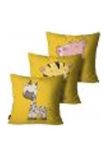 Kit Com 3 Capas Para Almofada Infantil Amarelo 35X35Cm