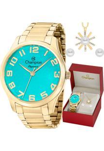 Kit Relógio Champion Feminino Colar E Brincos Cn26064Y