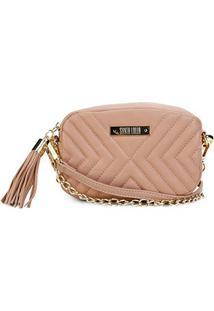 Bolsa Santa Lolla Mini Bag Matelassê Corrente Feminina - Feminino-Bege