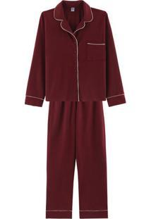 Pijama Feminino Longo Com Botões