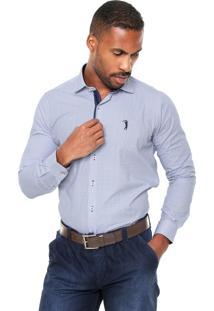 Camisa Aleatory Slim Branca/Azul