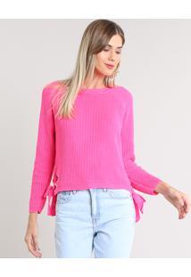 Suéter Feminino Com Lace Up Em Tricô Rosa Neon