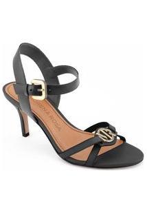 Sandalia Salto Medio Metal Personalizado Preto
