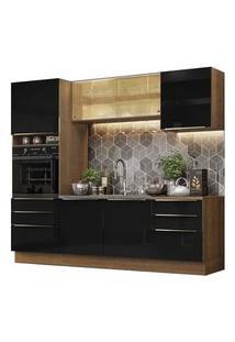 Cozinha Completa Madesa Lux 240002 Com Armário E Balcão Rustic/Preto Rustic