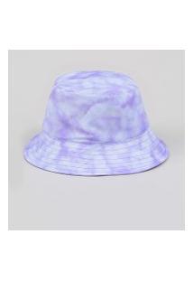 Chapéu Feminino Bucket Hat Estampado Tie Dye Lilás