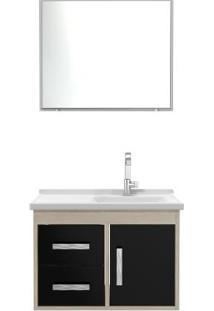 Gabinete Banheiro Tampo/Vidro Canopus Com 02 Gavetas-Preto