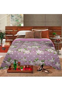 Edredom Casal Slim Hedrons Plush Soft Floral Poa Rose