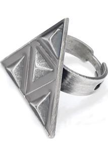 Anel Simone Salles Triângulos Metal Pv/Cinza - Regulável - Kanui