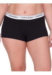 Calcinha Boyshort Moder Cotton Plus Size - Preto - 4Xl