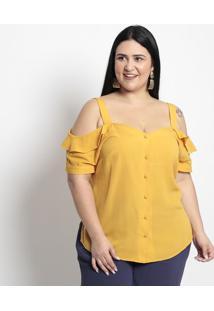 Camisa Lisa Com Vazado- Amarela- Pianetapianeta