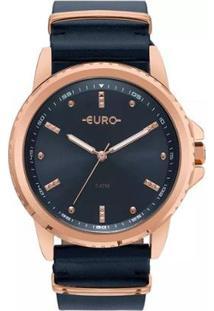 Relógio Feminino Euro Eu2035Ynm/4A Pulseira De Couro - Feminino-Preto
