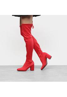Bota Meia Over The Knee Cano Alto Zatz Strech Salto Grosso Feminina - Feminino-Vermelho