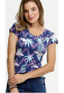 Blusa Feminina Estampa Tropical Manga Curta