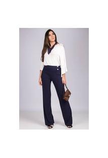 Calça Pantalona Malha Com Botão Madrepérola E Bolso Azul Marinho