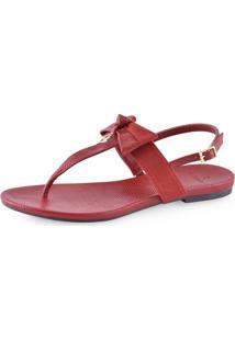 Sandália Flat Pedraria La Femme Snake Vermelha