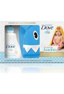 Kit Dove Baby Hidratação Enriquecida Sabonete Líquido 400Ml + Toalha De Banho Tubarão