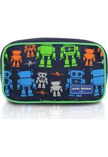 Necessaire Infantil Jacki Design Robô Microfibra Masculino - Masculino-Marinho+Verde