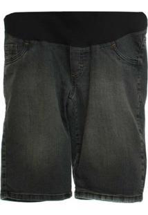 Bermuda Pedal Jeans Com Bolso Relogio - Feminino-Preto
