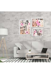 Kit 3 Quadros Com Moldura Flowers Pink
