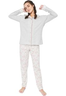 Pijama Laibel Floral Cinza/Off-White