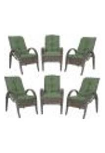Cadeiras 6Un P/ Jardim Lazer Edicula Varanda Descanso Fibra E Tramas Napoli Plus Pedra Ferro A30