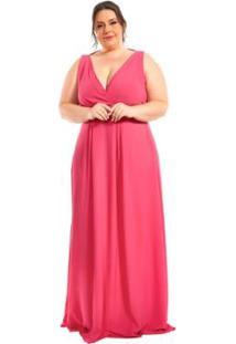 Vestido Plus Size Longo Com Pregas - Feminino-Rosa