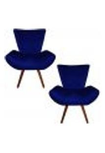 Kit 02 Poltronas Decorativa Diana Azul Marinho