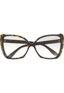 Gucci Eyewear Óculos De Sol Gatinho Oversized - Marrom
