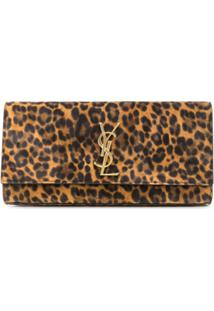 Saint Laurent Clutch Ysl Monogramada - Marrom