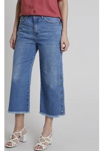 Calça Jeans Feminina Pantacourt Cintura Alta Com Botões Barra Desfiada Azul Médio