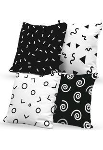 Kit 4 Capas De Almofadas Decorativas Own Desenhos Preto E Branco 45X45 - Somente Capa