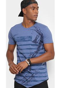 Camiseta Gangster Com Listras E Bolso Masculina - Masculino