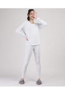 Pijama Feminino Listrado Manga Longa Off White
