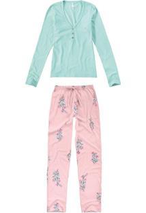 Pijama Longo Feminino - Verde Água - Xgg