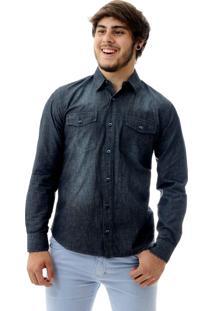 Camisa Laos Jeans Slim Fit Manga Longa Azul