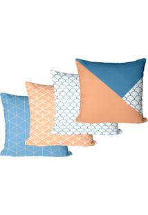 Kit Com 4 Capas Para Almofadas Decorativas Geomã©Tricas Coloridas 35X35Cm - Vermelho - Dafiti