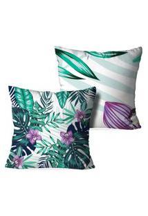 Kit 2 Capas Love Decor Para Almofadas Decorativas Floral Multicolorido Branco
