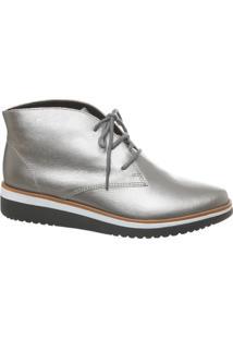 Ankle Boot Em Couro Prata Velho Solado Com Listras