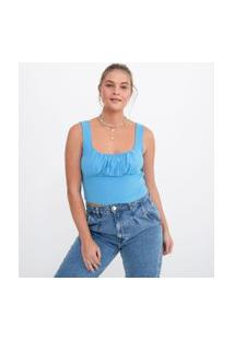 Blusa Cropped Lisa Em Algodão Com Franzido No Busto   Blue Steel   Azul   P