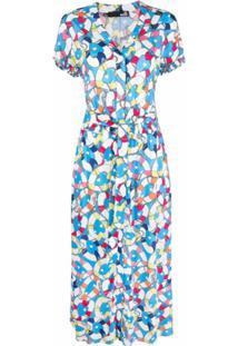 Love Moschino Vestido Com Estampa Corrida De Coração - Azul